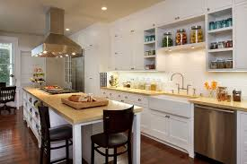 Open White Kitchen Design With Cabinets Farmhouse Ink Stainless Steel Appliances Chrome Faucet And Hardware Black Counterstools