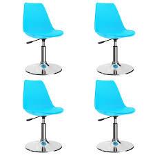 vidaxl drehbare esszimmerstühle 4 stk blau kunstleder
