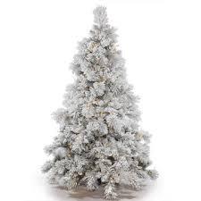 Vickerman 75 X 64 Prelit Flocked Alberta Artificial Christmas Tree With 650 Warm White LED Lights
