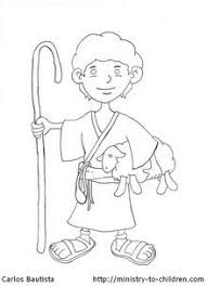 The Free Printable Coloring Page Shows David As A Young Shepherd Boy He Is Holding Staff In One Arm And Lamb Other