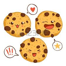 Group of three cute kawaii cookies with chocolste chips Good for t shirt design