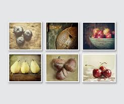 Country Kitchen Decor Set Of 6 Food Prints Or Canvas Wraps Rustic