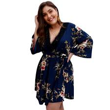 Womens Plus Size Dresses Summer Dress Casual Lace Up Vneck Long Sleeve Vintage Floral Party Dress