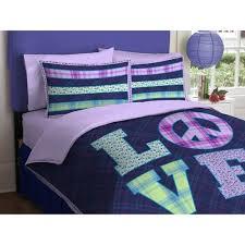 Girl Purple Green Love Peace Sign Twin forter Set 2pc Set