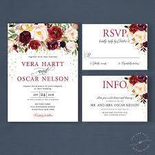 Fall Floral Boho Wedding Invitation Suite Marsala Burgundy Invitations Autumn Winter Bohemian Invites