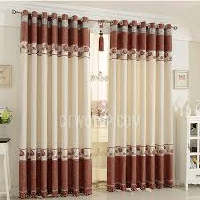 Quality Linen Cotton Blend Beige And Red Living Room Curtains