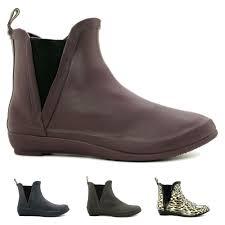 new womens flat wellington chelsea ankle rain boots size ebay
