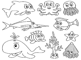 Sea Creatures Coloring Pages Free Printable Ocean For Kids Download