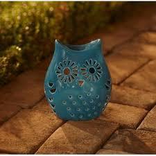 Ceramic Owl Candle Holder Blue Outdoor Living Outdoor Decor