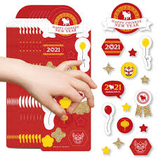 Items Where Year Is 2021 New Year 2021 Year Of The Ox Favor Stickers 16 Sheets 256 Stickers