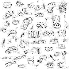 Hand Drawn Doodle Set Of Cartoon Food Rye Bread Ciabatta Whole Grain
