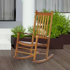 Details About Porch Rocking Chair Solid Wood Home Traditional Bench  Furniture Outdoor