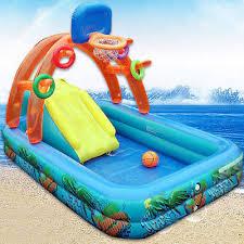 Inflatable Pool Water Swimming Fun Slide Kiddie Sprayer Rings Summer Kids UKPL
