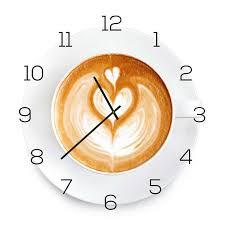 wanduhr aus glas 30x30cm uhr als glasbild küche cappuccino coffee deko yatego