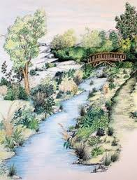 Ink Watercolor Pencil Landscape Drawing