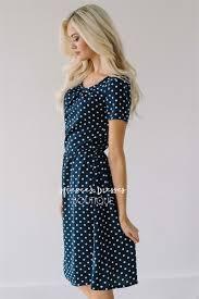 navy white polka dot dress modest summer dress cute modest