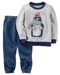 Display Product Reviews For 2 Piece Penguin Pullover Denim Jogger Set