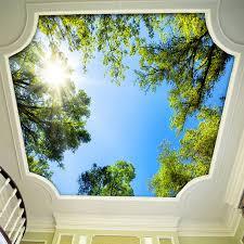 moderne 3d stereo sonnenschein grünen baum foto decke wandbild tapete wohnzimmer esszimmer natur tapete papel de parede 3d