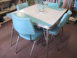 Amazing Retro Kitchen Chair Decor Blue Vintage Chrome Table And Chairs