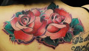 Rose Tattoo Upper Back 16 Red