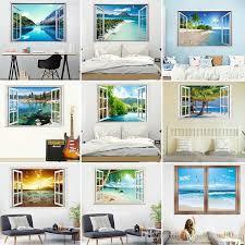 großhandel einzelhandel 9 arten 3d gefälschte fenster landschaft wandaufkleber schlafzimmer wohnzimmer dekoration malerei wohnkultur strand tapeten