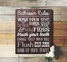 Bathroom Rules Sign Rustic Kids Art Wall