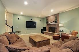 Simple Wooden Coffee Table Installed At Family Room With Refreshing Green Basement Paint Colors