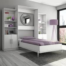 furniture light grey wall bed with violet bedding and stand l