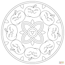 Click The Halloween Mandala With Pumpkins Coloring Pages To View Printable Version Or Color It Online Compatible IPad And Android Tablets