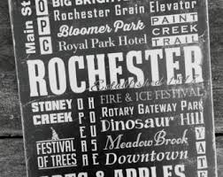 Rochester Michigan Streets Attractions Graduation Rustic Distressed Vintage Look Subway