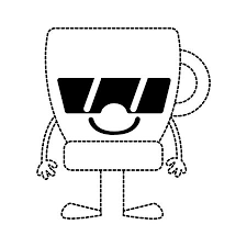 Dotted Shape Happy Coffee Cup With Arms And Legs Vector Illustration