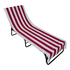 JM Home Fashions Stripe Beach Lounge Chair Towel With Fitted Top Pocket 26x82