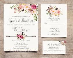 Bohemian Invitation Rustic RSVP Card Peony Boho Wedding Invite Calligraphy