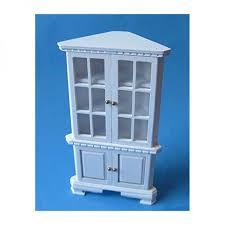 creal 27551 eckschrank vitrine weiß holz 1 12 für puppenhaus