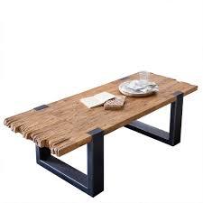 wohnzimmertisch aus teak altholz rustikal bleska
