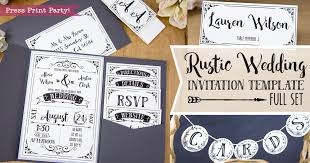 Rustic Wedding Invitations Template Cheap DIY Press Print Party