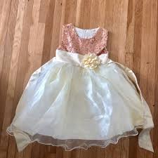 3T 4T Girls Rose Gold Sequin Flower Girl Dress