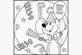 Happy New Year Black And White Clip Art Colorable Drawing Image For School Kids