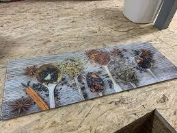 glasrückwand bild küche gewürze spritzschutz kochen abdeckun