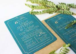 Rustic Teal New Zealand Theme Wedding Invite2