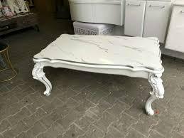 couchtisch wohnzimmertisch silber dekor marmor weiß hochglanz