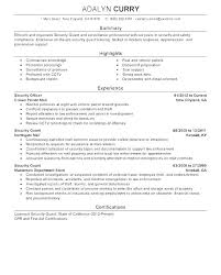 Security Guard Resume Skills Examples For Guards Sample Template Resu