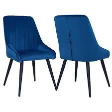 2er set esszimmerstuhl polsterstuhl stoff samt blau