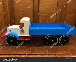 Vintage Toy Truck Red Blue Wooden Stock Photo (Edit Now) 779237842 ...