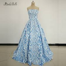 modabelle Womens Evening Gowns Blue Satin Long Print Pattern Special