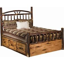 Rustic Hickory Log Bed