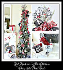 Red Black And White Christmas Decorations Pencil Tree Decorated With Chalkboard Snowflakes