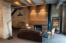 Living Room A Chic Rustic Ideas In Stoned Wall With Unique Black Lamp Warm Furnace Big Mirror Chairs And Leather Sofas Sturdy
