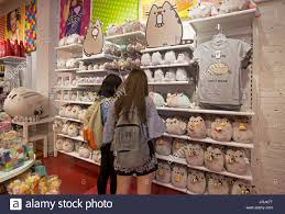 cat merchandise japanese shoppers browsing pusheen the cat toys and merchandise