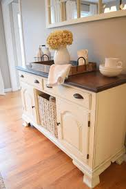 Farmhouse Style Dining Room Buffet Sideboard Painted White Stained Top Bin Pulls Seagrass Basket